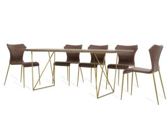 Modrest Marcia Mid-Century Tobacco & Antique Brass Dining Table