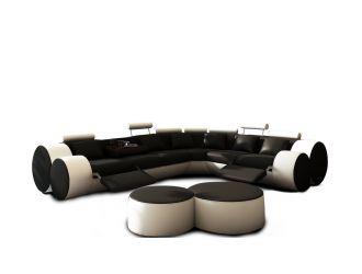 Divani Casa 3087 - Modern Black and White Leather Sectional Sofa & Ottomans