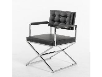 Modrest Cosme Modern Black Leatherette Dining Armchair