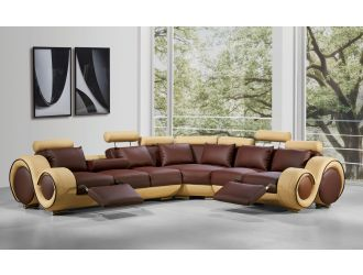 Divani Casa 4087 - Modern Brown + Beige Leather Sectional Sofa with Recliners