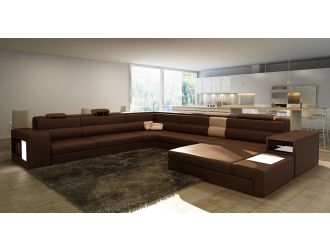 Polaris Brown Bonded Leather Sectional Sofa