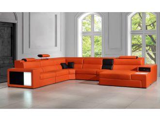 Divani Casa Polaris - Contemporary Orange Leather U Shaped Sectional Sofa with Lights