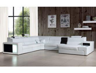 Divani Casa Polaris - Contemporary White Leather U Shaped Sectional Sofa with Lights