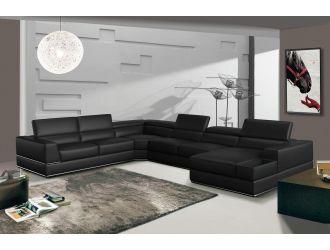 Divani Casa Pella - Modern Black Italian Leather U Shaped Sectional Sofa