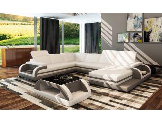 Divani Casa 5132B Modern White & Grey Bonded Leather Sectional Sofa