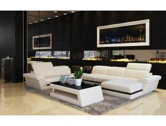 Divani Casa 5136 Modern White & Black Bonded Leather Sectional Sofa