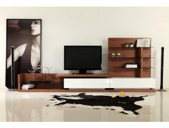 Modrest Jefferson Mid-Century Walnut and White High Gloss TV Unit