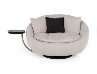 Divani Casa Alba Modern Grey Fabric Chair w/ Tray