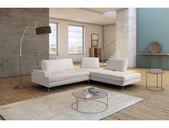 Estro Salotti Voyager - Modern White Leather Right Facing Sectional Sofa