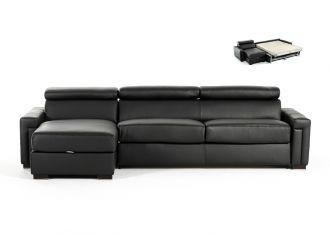 Estro Salotti Sacha - Modern Black Leather Reversible Sectional Sofa Bed with Storage