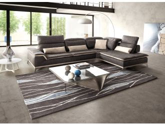David Ferrari Volare - Italian Modern Grey Fabric Right Facing Sectional Sofa