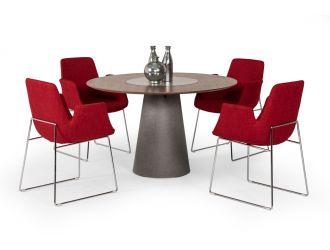 Modrest Alanna Modern Round Walnut Dining Table w/ Lazy Susan
