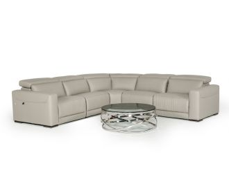 Estro Salotti Thelma - Italian Modern Grey Leather Sectional Sofa with Recliners