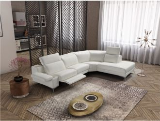 Estro Salotti Hypnose - Italian Modern White Leather Sectional Sofa with Recliner