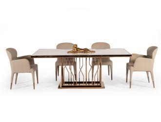 Modrest Marston Modern White Marble & Rosegold Dining Table