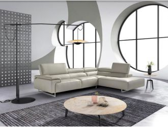 Estro Salotti Wish - Modern Grey Leather Right Facing Sectional Sofa