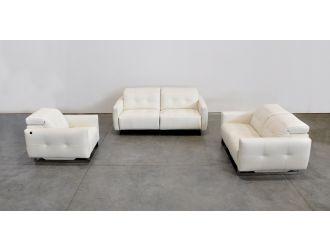 Estro Salotti Duca Modern White Leather Sofa Set w/ Recliners