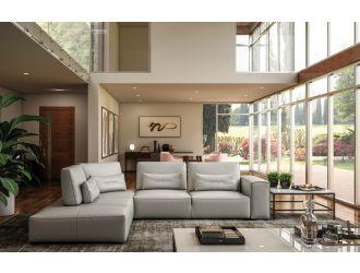 Accenti Italia Enjoy - Italian Modern Light Grey Leather Left Facing Sectional Sofa