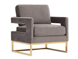 Modrest Edna Modern Grey Velvet & Gold Accent Chair