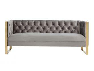 Divani Casa Carlos Modern Grey Velvet & Gold Sofa