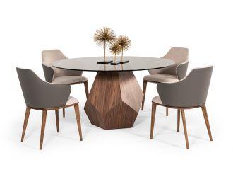 Modrest Rackham Mid-Century Walnut Round Dining Table