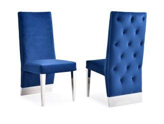 Modrest Kilson Modern Blue Velvet & Stainless Steel Dining Chair (Set of 2)