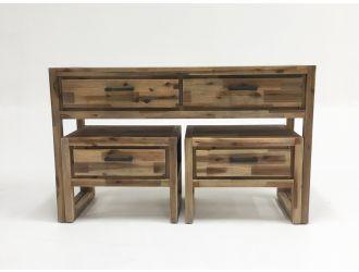 Modrest Mandy Modern Nutmeg Acacia Console & End Table Set