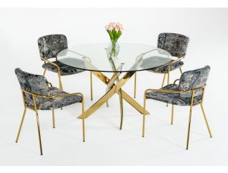 Modrest Pyrite - Modern Round Glass Dining Table