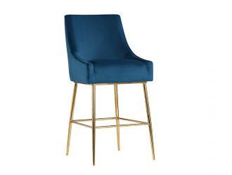 Modrest Gleason Modern Blue Velvet Bar Stool