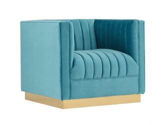 Divani Casa Oneida Modern Blue Velvet Lounge Chair