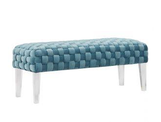 Divani Casa Tracy Modern Blue Velvet Bench
