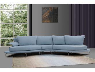 Divani Casa Andover - Modern Blue + White Curved Sectional Sofa