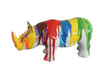 Modrest Modern Colorful Drips Rhino Sculpture