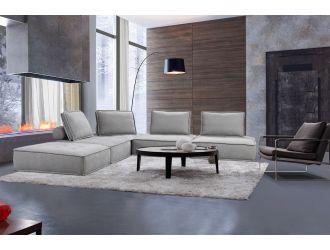 Divani Casa Nolden - Modern Grey Fabric Modular Sectional Sofa