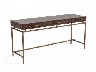 Modrest Nathan - Modern Acacia & Brass Office Desk