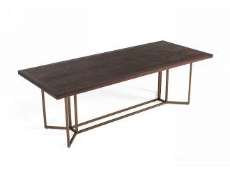 Modrest Nathan - Modern Acacia & Brass Dining Table
