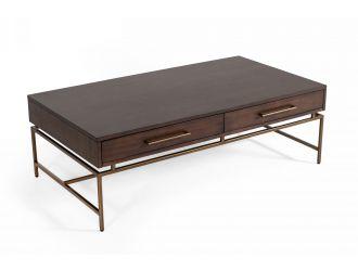 Modrest Nathan - Modern Acacia & Brass Coffee Table