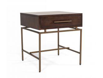 Modrest Nathan - Modern Acacia & Brass End Table