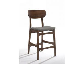 Modrest Lynn - Modern Grey & Walnut Bar Chair (Set of 2)