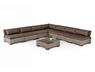 Modrest Delaware - Modern Concrete Modular Sectional Sofa Set with Square Coffee Table