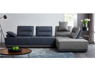Divani Casa Glendale - Modern Blue + Grey Fabric Modular Sectional Sofa