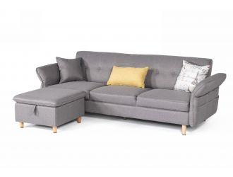 Divani Casa Jeremiah - Modern Grey Fabric Sofabed & Ottoman w/ Storage