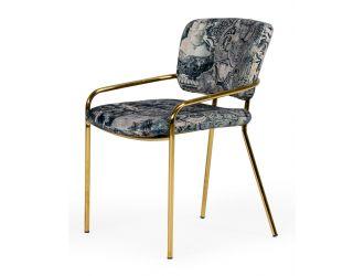 Modrest Farnon - Modern Patterned Velvet and Gold Dining Chair