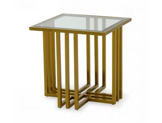 Modrest Kodiak - Glam Clear Glass and Gold Glass End Table