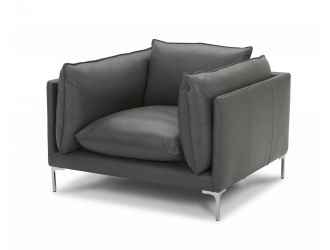 Divani Casa Harvest - Modern Grey Full Leather Chair