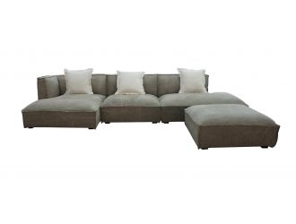 Divani Casa Dania - Modern Beige Fabric Sectional Sofa + Ottoman
