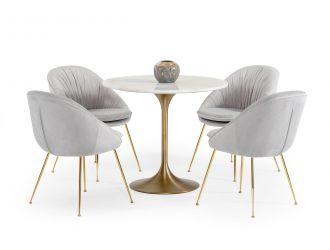 Modrest Collins - Glam White Marble & Gold Dining Table