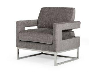 Modrest Edna - Modern Dark Grey Fabric Accent Chair