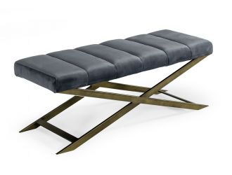 Modrest Xane - Contemporary Dark Grey & Antique Brass Bench