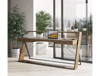 Modrest Carrie - Modern Walnut & Black Office Desk